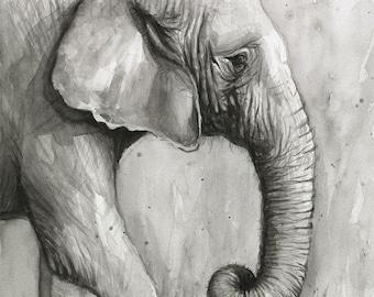 Elephant Watercolor Painting Black and White Portrait, Art Print Giclee Animal Wall Art, Zoo Animals, Nursery Decor
