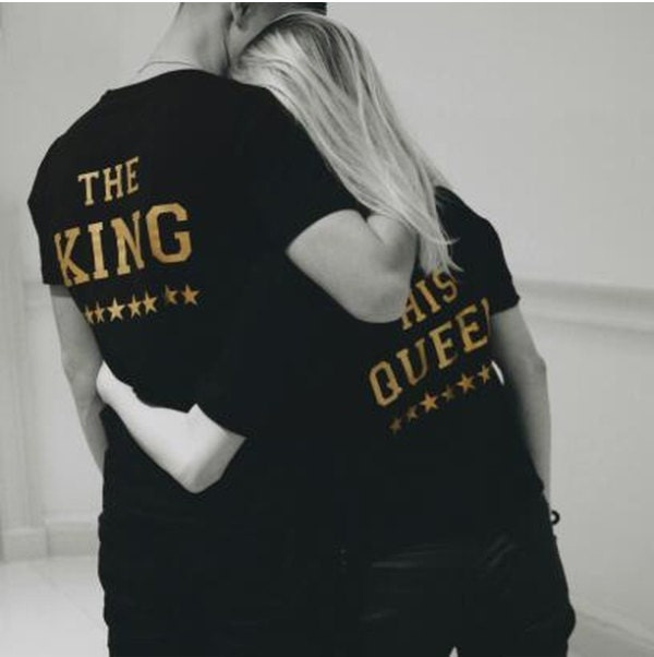The KING His QUEEN , King Queen Couples Shirt Set , King Queen shirts, King Queen Brides Store