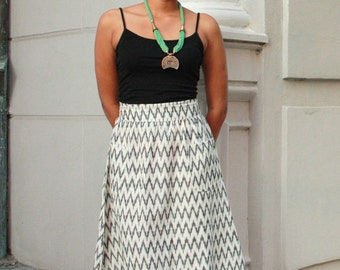 Fair Trade Black & White Midi Skirt with Pockets: Eco Dyes and Ethical