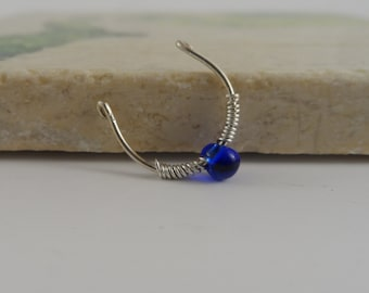 Sterling Silver Faux Septum Ring With Blue Accent, Fake Septum Ring, Fake Nose Ring, Body Jewelry, Silver Septum Ring