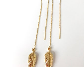 Gold Feather Threader Earrings