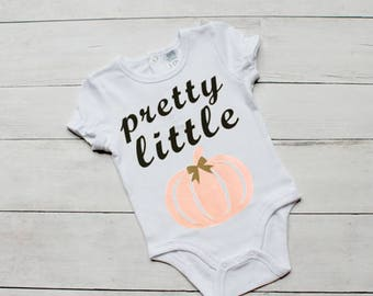 Pretty Little Pumpkin Onesie. Halloween Onesie. Baby Girl Onesie