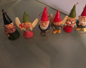 Ensemble complet de 6 1979 Gorham Uniboek B. V. Gnome Vintage ornements