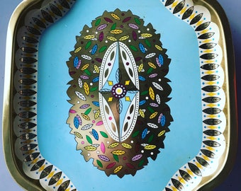 """Gold Leaves Robins Egg Blue Metal """"236 Leaves"""" Serving Tray by Baret Ware - Made in England"""