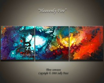XXL Giclee prints on canvas from my acrylic painting Heavenly Fire, abstract art,  triptych painting, extra large wall art