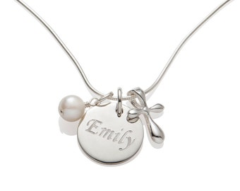 First Communion Gift for Girls , Holy Communion Jewelry Kids , Cross Necklace , Name and Date Necklace , 925 Sterling Silver