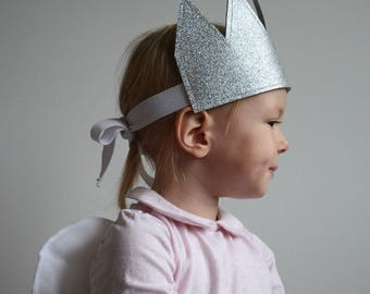 Kid's Glitter Crown, Silver Crown, Dress Up,  Imaginative Play, Kid's Party Hat