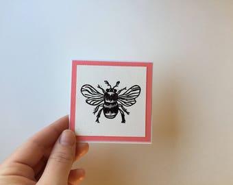 Set of Three Embossed Bee Mini Blank Greeting Cards