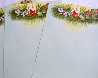 Vintage Christmas Stationery Paper - Candle and Holly Letterhead - 10 Sheets 1950s