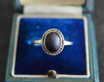 Blue Goldstone Cabochon Sterling Silver Ring, Full UK Hallmarks, Size R, Perfect Gift or Treat!