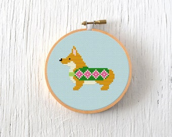 PDF Pattern - Festive Corgi Cross Stitch Pattern, Christmas Corgi Cross Stitch Pattern, Christmas Dog Cross Stitch Pattern