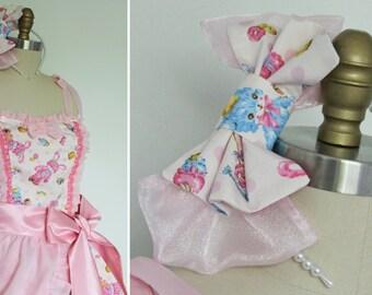 Kawaii Pink Polka Dot Teddy Bear Bunny Rabbit JSK Dress, Runway Prototype, Sweet Lolita