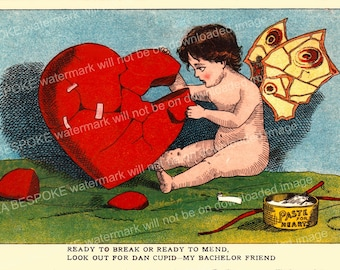 Printable Vintage Cupid card, antique valentine, Instant Download, Dan cupid, broken heart, mend a broken heart