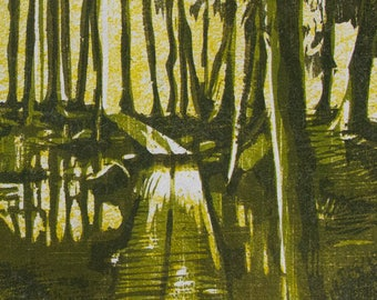 "Woodcut print, ""Further Seems Forever"""