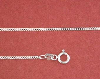 17.5 inch Sterling Silver Cuban Mini-Curb Pendant Chain Jewelry Supply