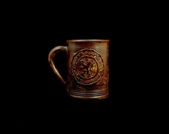 Stoneware Lion Virtues Mug