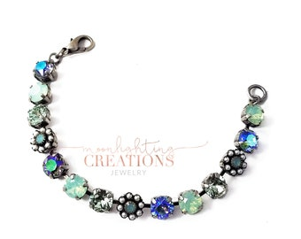 Moon Flower Crystal Bracelet, Swarovski Bracelet, Multicolored Crystal Bracelet.