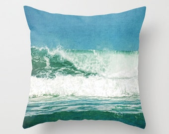 Wave Pillow Cover Beach Surf Home Decor 16 x 16 Cover