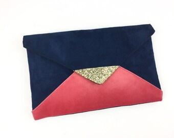 Evening bag wedding Blue Navy and pink coral Suede, Golden sequins