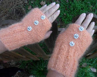 salmon color (mohair), knit fingerless gloves