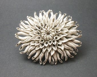 Vintage Chrysanthemum Flower Brooch - Detailed Textured Large White and Grey Chrysanthemum Pin - 3D Flower Brooch Resin or Clay