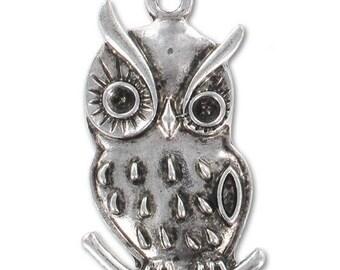 Silver 38 mm antique metal OWL Pendant * 1