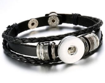 BLACK Leather Bracelet 18-20mm Interchangeable Snap Jewelry Fits Ginger Snaps