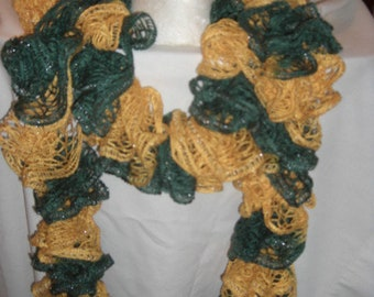 Handmade Knit  Ruffle Scarf appr 4  x 72
