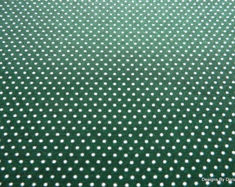 One Fat Quarter Cut Quilt Fabric, White Pin Dots on Dark Green from Troy, Sewing-Quilting-Craft Supplies
