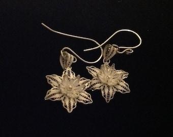Bali sterling silver flower earrings