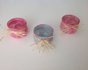 Three painted glass candle holders