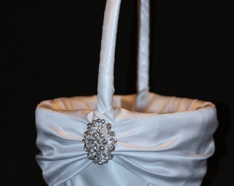 Rhinestone Crystal Accent White or Ivory Wedding Flower Girl Basket