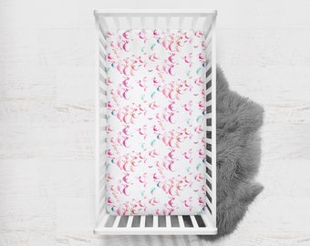 Fitted Crib Sheet Seahorse in Pink. Seahorse Crib Sheet. Nautical Baby Bedding. Pink Crib Sheet. Minky Fitted Sheet. Toddler Fitted Sheet.