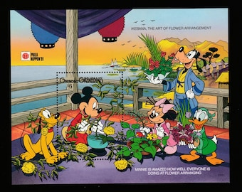Disney-Mickey and Minnie Mouse-Postage Stamp Sheet-Goofy-Pluto-Donald Duck-Art of Flower Arrangement-Phila Nippon 91-Japan Arranning Flowers