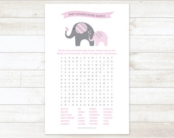 baby shower word search game baby girl shower game pink elephant baby shower game - INSTANT DOWNLOAD