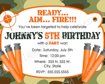 Custom Dart Gun and Camouflage Birthday Invitation