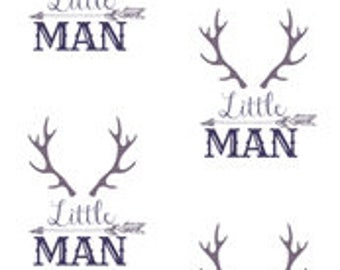 Little Man Antlers Print Bumper Pads (navy or black)