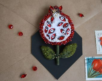Pomegranate fruit brooch , Unique Handmade Embroidery Beads Brooch