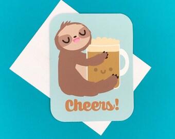 Cheers! Sloth & Beer Greeting Card