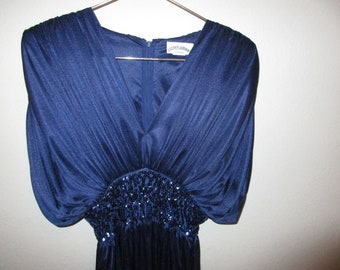 Dark Blue Sequined Disco Jumpsuit by Lizzy and Johnny by Lucero 1980s