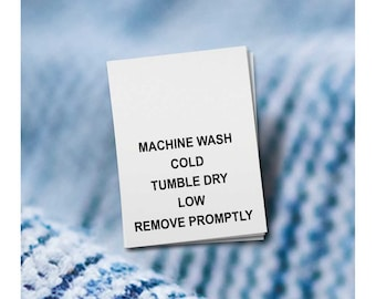 100 PRINTED CARE LABELS (Style 2-Machine Wash Cold...)