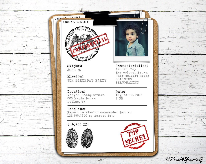 Case File Invite // Personalized Printable Top Secret Case