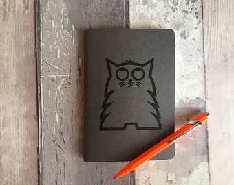 Cat notebook, Cat stationery, Small unlined handmade journal featuring Bob, dark grey hand-printed, hand-stitched A6 notepad, cat lover gift