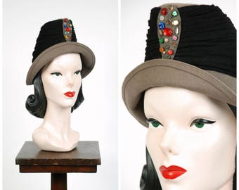 1940s Vintage Hat - Striking and Rare Tall 40s Peaked Hat with Wrapped with Jersey and Studded with Multicolor Beads