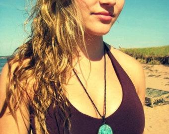 Bohemian jewelry, Boho, Azurite Necklace / Azurite jewelry / Macrame necklace / Rare stones / Funky jewelry /  Healing stones and crystals