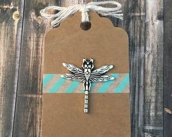 Dragonfly Lapel Pin - Silver Tone - Insect Pin - Groomsmen Dragonfly Pin - Tack Backing with Clutch Clasp