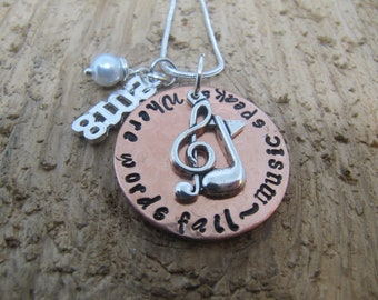 graduation gift, Music necklace, hand stamped necklace, Graduation 2018, Where words fail music speaks, Music charm, Music note charm