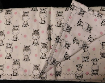 "35"" by 34"" Homemade Snuggle Flannel Reversible Baby Blanket"