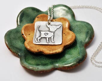Chihuahua Necklace - Dog - Dog Jewelry - Fine Silver - Dog Lover - Chihuahua Jewelry - Animal Lover - Chihuahua - Personalized