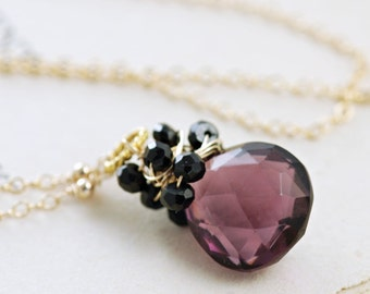 Purple Black Gemstone Pendant Necklace in 14k Gold Fill, Handmade Wire Wrap Statement Necklace, aubepine